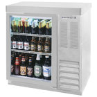 Beverage-Air BB36G-1-S-27-LED 36 inch Stainless Steel Glass Door Back Bar Refrigerator with 2 inch Stainless Steel Top