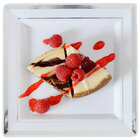 Fineline Silver Splendor 5507-WH White 7 1/4 inch Square Plastic Plate with Silver Bands - 10 / Pack