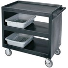 Cambro BC235110 Black Three Shelf Service Cart - 37 1/4 inch x 21 1/2 inch x 34 5/4 inch