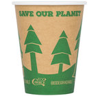 EcoChoice 12 oz. Kraft Compostable and Biodegradable Paper Hot Cup with Tree Design - 1000/Case
