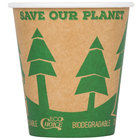 EcoChoice 10 oz. Kraft Compostable and Biodegradable Paper Hot Cup with Tree Design - 50/Pack