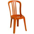 Grosfillex US495019 / US490019 Miami Bistro Orange Outdoor Stacking Resin Sidechair