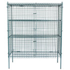 Regency NSF Stationary Green Wire Security Cage Kit - 24 inch x 60 inch x 74 inch