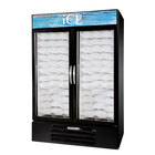 Beverage Air MMF49-B-1-ICE-LED MarketMax Black Indoor Ice Merchandiser with LED Lighting and Swing Doors - 49 cu. ft.