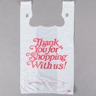 13 inch x 8 inch x 23 inch .67 Mil White Thank You Heavy-Duty Plastic T-Shirt Bag   - 500/Case
