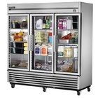 True TS-72G 78 inch Stainless Steel Three Section Glass Door Reach In Refrigerator