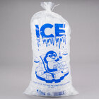 Choice 20 lb. Clear Wicketed Ice Bag with Ice Print and Handle - 500/Case