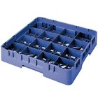 "Cambro 16S738168 Camrack 7 3/4"" High Blue 16 Compartment Glass Rack"