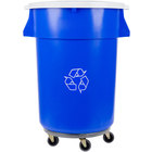 Continental 44 Gallon Blue Recycling Trash Can, Lid, and Dolly Kit