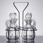 4 Compartment Wire Caddy with 6 oz. Glass Cruets and Stoppers