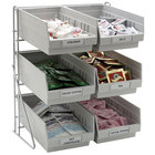 Carlisle 381206LG 14 inch x 12 inch x 18 inch Wire 3-Tier Packet Rack with 4 Qt. Gray Compartment Bins