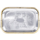 Vollrath 47260 Odyssey 18 1/4 inch x 12 1/4 inch Rectangular Gold Trim Metal Catering Tray