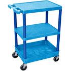 Luxor / H. Wilson BUSTC221BU Blue 3 Shelf Utility Cart - 1 Tub Shelf, 24 inch x 18 inch x 37 1/2 inch