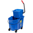Rubbermaid FG758888BLUE WaveBrake® 35 Qt. Blue Mop Bucket with Side Press Wringer