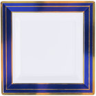 Fineline 5504-WHBG Silver Splendor 4 1/2 inch Square White Plastic Plate with Blue Rim and Gold Bands - 120/Case