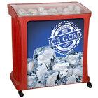 88 Qt. Red Avalanche Platinum Mobile Merchandiser / Cooler - 30 inch x 18 inch x 32 inch