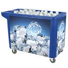 280 Qt. Blue Merchandiser / Cooler Push Cart - 53 inch x 30 inch x 39 inch