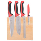 Mercer M21980RD Millennia 5-Piece Rubberwood Magnetic Board and Red Handle Knife Set