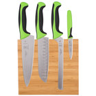 Mercer M21981GR Millennia 5-Piece Bamboo Magnetic Board and Green Handle Knife Set