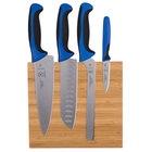 Mercer M21981BL Millennia 5-Piece Bamboo Magnetic Board and Blue Handle Knife Set