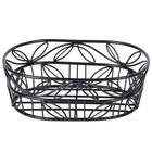 American Metalcraft OLB9 Wrought Iron Oval Basket with Leaf Design - 6 3/4 inch x 9 inch