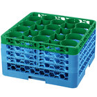 Carlisle RW20-3C413 OptiClean NeWave 20 Compartment Green Color-Coded Glass Rack with 4 Extenders