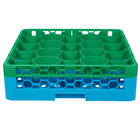 Carlisle RW20-C413 OptiClean NeWave 20 Compartment Green Color-Coded Glass Rack with 1 Integrated Extender