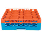 Carlisle RW20-C412 OptiClean NeWave 20 Compartment Orange Color-Coded Glass Rack with 1 Integrated Extender