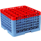Carlisle RW30-4C410 OptiClean NeWave 30 Compartment Red Color-Coded Glass Rack with 5 Extenders
