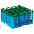Carlisle RG16-4C413 OptiClean 16 Compartment Green Color-Coded Glass Rack with 4 Extenders