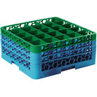 Carlisle RG25-3C413 OptiClean 25 Compartment Green Color-Coded Glass Rack with 3 Extenders