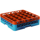Carlisle RG25-1C412 OptiClean 25 Compartment Orange Color-Coded Glass Rack with 1 Extender