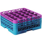 Carlisle RG25-3C414 OptiClean 25 Compartment Lavender Color-Coded Glass Rack with 3 Extenders