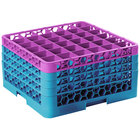 Carlisle RG36-4C414 OptiClean 36 Compartment Lavender Color-Coded Glass Rack with 4 Extenders