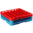 Carlisle RG36-1C410 OptiClean 36 Compartment Red Color-Coded Glass Rack with 1 Extender