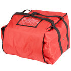 ServIt 16 inch x 16 inch x 13 inch Red Soft-Sided Heavy-Duty Nylon Insulated Pizza Delivery Bag - Holds Up To (6) 12 inch or 14 inch Pizza Boxes