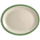 Homer Laughlin 1571708 Green Checkers 13 3/8 inch x 9 inch Ivory (American White) Rolled Edge Oval Platter - 12/Case