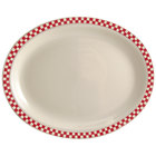 Homer Laughlin 2595413 Scarlet Checkers 9 3/4 inch x 8 inch Ivory (American White) Narrow Rim Oval Platter - 24/Case