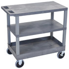 Luxor / H. Wilson EC221HD-G Gray 1 Tub and 2 Flat Shelf Utility Cart - 32 inch x 18 inch