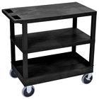 Luxor / H. Wilson EC221HD-B Black 1 Tub and 2 Flat Shelf Utility Cart - 32 inch x 18 inch