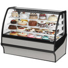 True TDM-R-59-GE/GE 59 inch Stainless Steel Curved Glass Refrigerated Bakery Display Case with Stainless Steel Interior