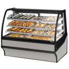 True TDM-DC-59-GE/GE 59 inch Stainless Steel Curved Glass Dry Bakery Display Case with Stainless Steel Interior