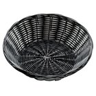 Tablecraft 2475 Black Round Rattan Basket 8 1/2 inch x 2 1/4 inch 12 / Pack