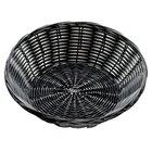 Tablecraft 2475 8 1/2 inch x 2 1/4 inch Black Round Rattan Basket   - 12/Pack