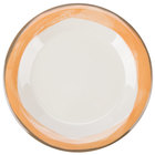 GET WP-7-DI-KNO Kanello 7 1/2 inch Round Diamond Ivory Wide Rim Melamine Plate with Kanello Orange Edge - 48/Case