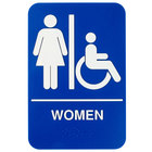 ADA Women's Restroom Sign with Braille - Blue and White, 9