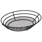 GET 4-38848 12 1/2 inch x 9 1/4 inch Black Iron Powder Coated Oval Basket with Raised Grid Base