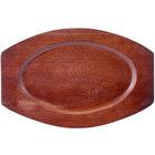 11 1/2 inch x 7 1/2 inch Mahogany Oval Wood Sizzler Platter Underliner