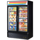 True GDM-43F~TSL01 Black Glass Swing Door Merchandiser Freezer with LED Lighting - 40.6 Cu. Ft.