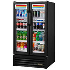 "True GDM-30-HC-LD 31"" Black Glass Door Refrigerated Merchandiser with LED Lighting"